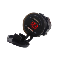 Влагозащищенный врезной вольтметр и 2 USB зарядки квадроцикла, мотоцикла, снегохода TSK YC-A16