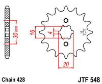 Звезда передняя Yamaha Raptor, TTR, YBR, XT 125 14 зубов JTF548.14, JTF548-14